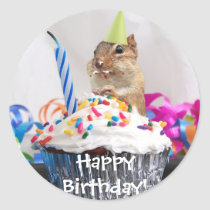 chipmunk birthday celebration classic round sticker