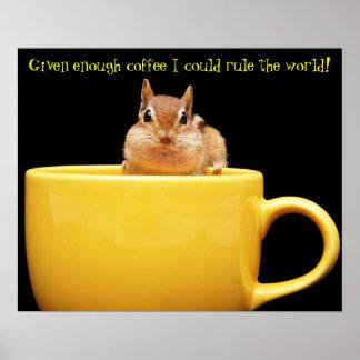 Chipmunk coffee lover poster