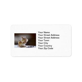 Chipmunk con la foto llena de las mejillas etiqueta de dirección