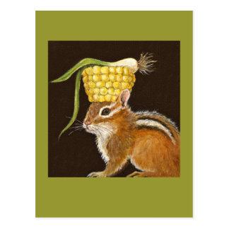 chipmunk con la postal del gorra del maíz y del sc
