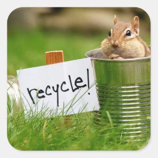 Chipmunk de reciclaje lindo pegatina cuadrada