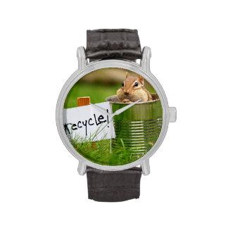 Chipmunk de reciclaje lindo relojes de pulsera