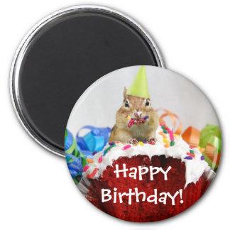 Chipmunk del cumpleaños imán redondo 5 cm