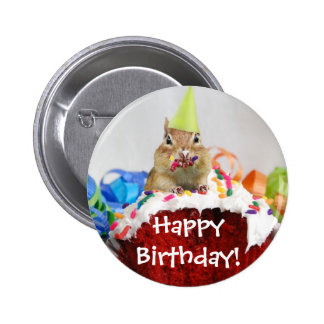 Chipmunk del cumpleaños pin redondo 5 cm
