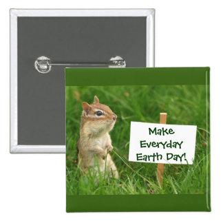Chipmunk del Día de la Tierra Pin Cuadrada 5 Cm