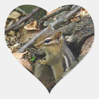 Chipmunk del este - striatus del Tamias Pegatina En Forma De Corazón