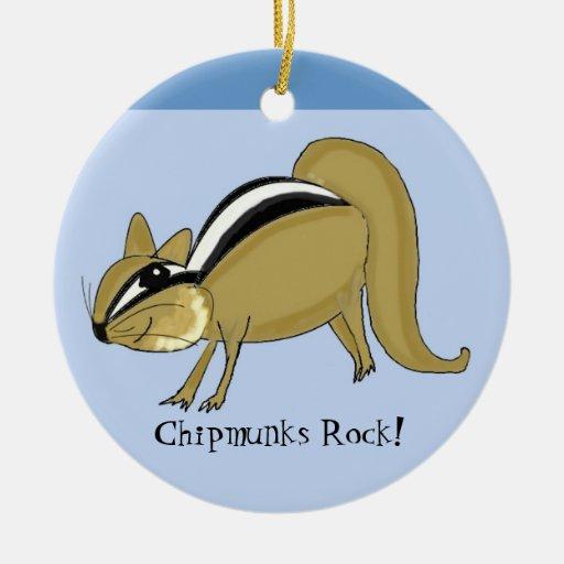 Chipmunk disimulado adorno redondo de cerámica