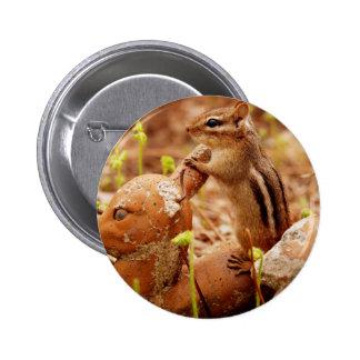 Chipmunk en el puesto de observación pin redondo 5 cm