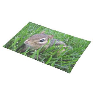 Chipmunk en la hierba mantel individual