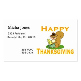 Chipmunk feliz de la acción de gracias con maíz tarjeta de negocio