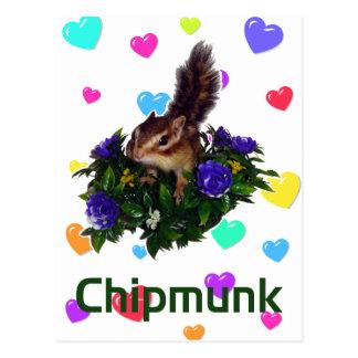 Chipmunk & flower 1 postcard