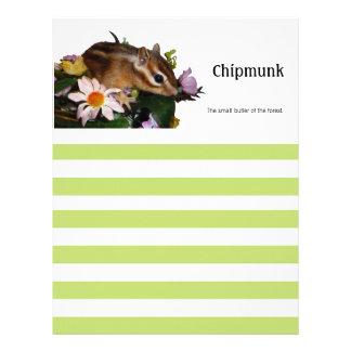 Chipmunk & flower customized letterhead