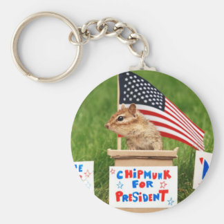 Chipmunk for President Keychain