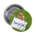 chipmunk for recycling pinback button