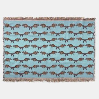 Chipmunk Frenzy Throw Blanket (Sky Blue Mix)