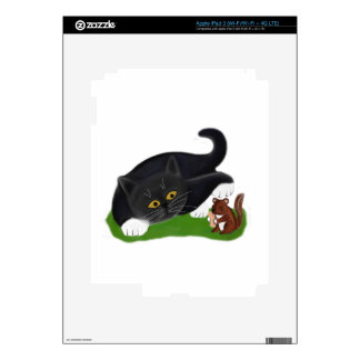 Chipmunk Holds a Peanut as Tuxedo Kitten Pats its iPad 3 Skins