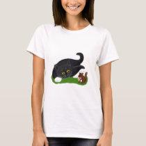 Chipmunk Holds a Peanut as Tuxedo Kitten Pats its T-Shirt