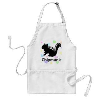 Chipmunk illustration (12) Black Adult Apron