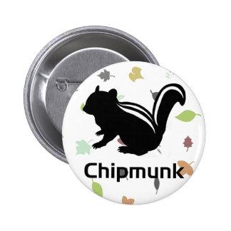 Chipmunk illustration (12) Black Button