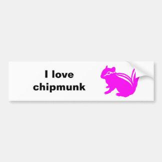 Chipmunk illustration (14) Pink Bumper Sticker