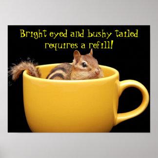 Chipmunk in coffee cup print