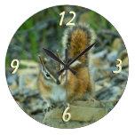 Chipmunk in Glacier National Park I Large Clock
