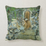 Chipmunk in Glacier National Park I Throw Pillow
