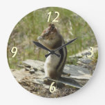 Chipmunk in Glacier National Park II Nature Photo Large Clock