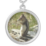 Chipmunk in Glacier National Park II Nature Photo Silver Plated Necklace