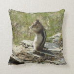 Chipmunk in Glacier National Park II Nature Photo Throw Pillow