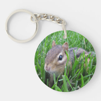 Chipmunk In The Grass Double-Sided Round Acrylic Keychain