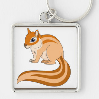 Chipmunk Silver-Colored Square Keychain