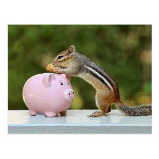Chipmunk lindo con la imagen de la hucha del diner postales