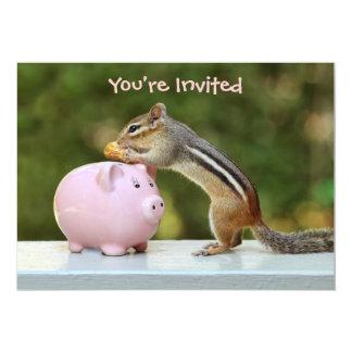 """Chipmunk lindo con la imagen de la hucha del invitación 5"""" x 7"""""""