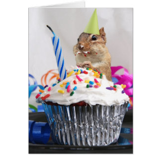 Chipmunk lindo del feliz cumpleaños pequeño tarjeta de felicitación