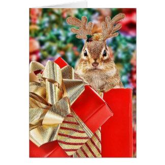 Chipmunk lindo del navidad tarjeta de felicitación