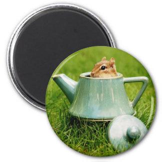 Chipmunk lindo en tetera imán redondo 5 cm