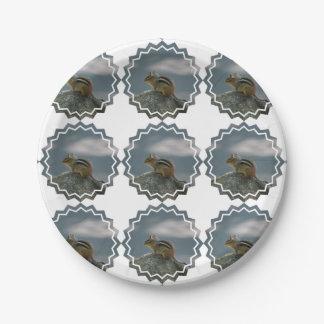 Chipmunk lindo plato de papel de 7 pulgadas