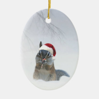 Chipmunk lindo Santa con el bastón de caramelo Adorno Navideño Ovalado De Cerámica