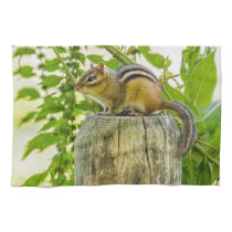 Chipmunk on a Fence Post Facing Left Towel
