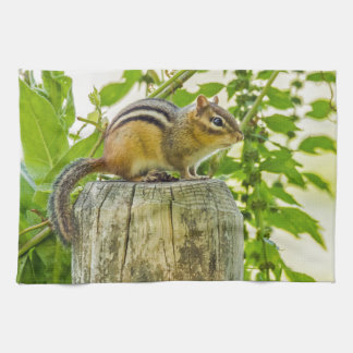 Chipmunk on a Fence Post Hand Towel