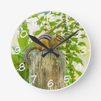 Chipmunk on a Fence Post Round Clock