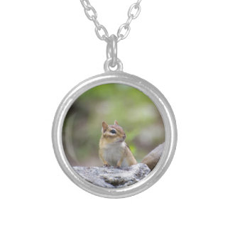Chipmunk on a rock silver plated necklace