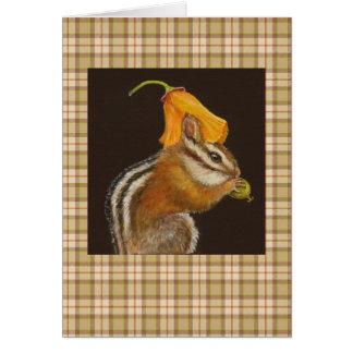 Chipmunk on plaid card
