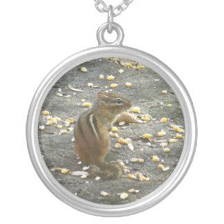 Chipmunk on Rock Items Round Pendant Necklace
