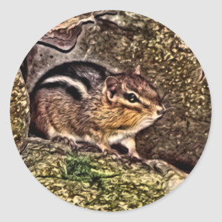 Chipmunk on Rocks Painting Classic Round Sticker