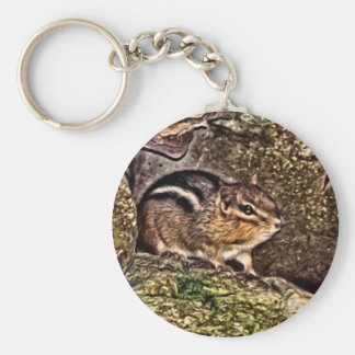 Chipmunk on Rocks Painting Keychain