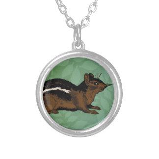Chipmunk Painting Round Pendant Necklace