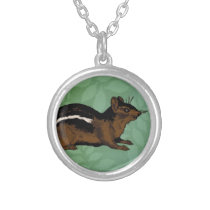 Chipmunk Painting Silver Plated Necklace