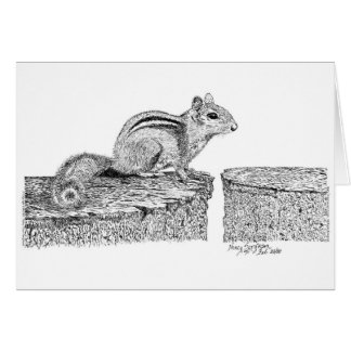 Chipmunk Pen and Ink Card
